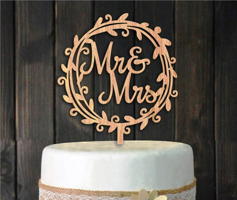 Wooden 'Mr & Mrs' Cake Topper