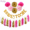Glitter 'Bride To Be' Banner w/ Garland &r Tassels - The Rustic Chic Boutique