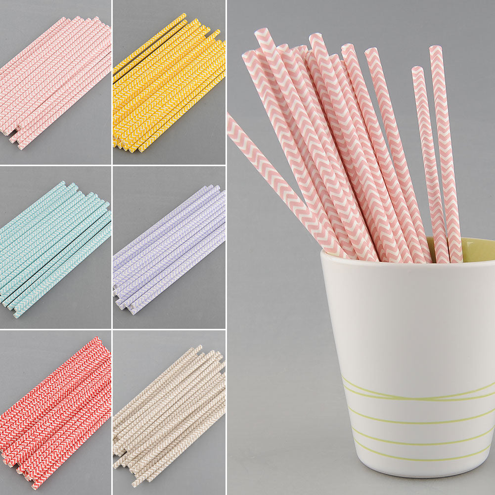 Chevron-Striped Paper Straws: 25pcs - The Rustic Chic Boutique