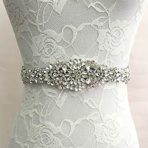 Kyunovia Crystal & Satin Wedding Belt w/ Rhinestone Embellishments