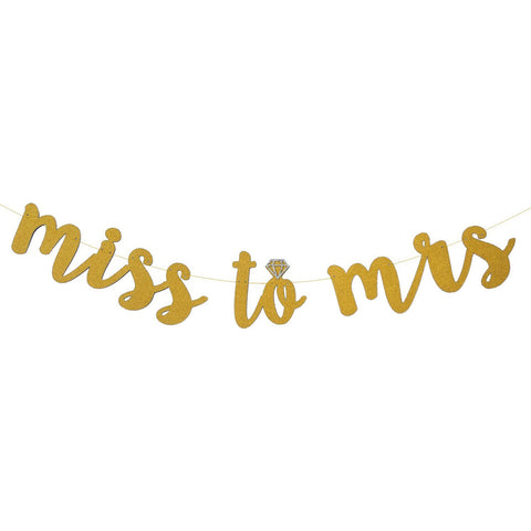 'MISS TO MRS' Gold Glitter Banner