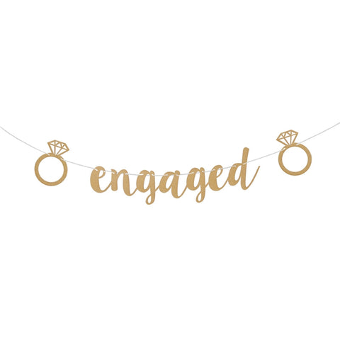 'Engaged' Gold Glitter Banner