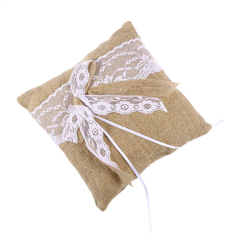 Burlap & Lace Ring Bearer Pillow - The Rustic Chic Boutique