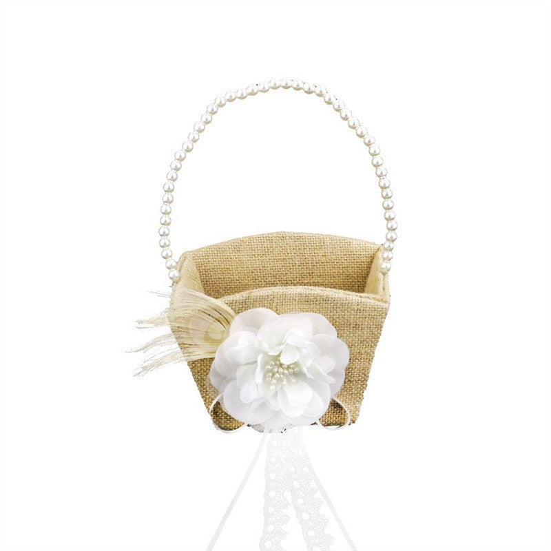 Vintage Pearl & Ribbon Flower Girl Basket - The Rustic Chic Boutique