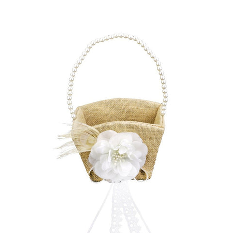 Vintage Pearl & Ribbon Flower Girl Basket