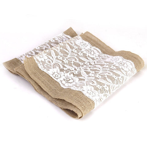 "42"" x 11"" Burlap Table Runner w/ Lace"
