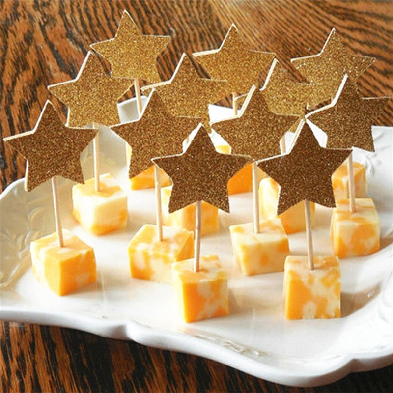 30-Pack Glitter Paper Star Cupcake Toppers - The Rustic Chic Boutique