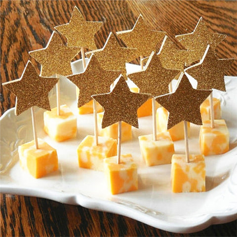 30-Pack Glitter Paper Star Cupcake Toppers