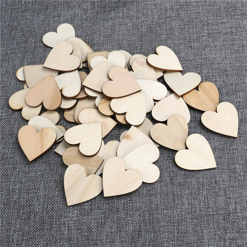 50pcs Heart Wood Shapes - The Rustic Chic Boutique