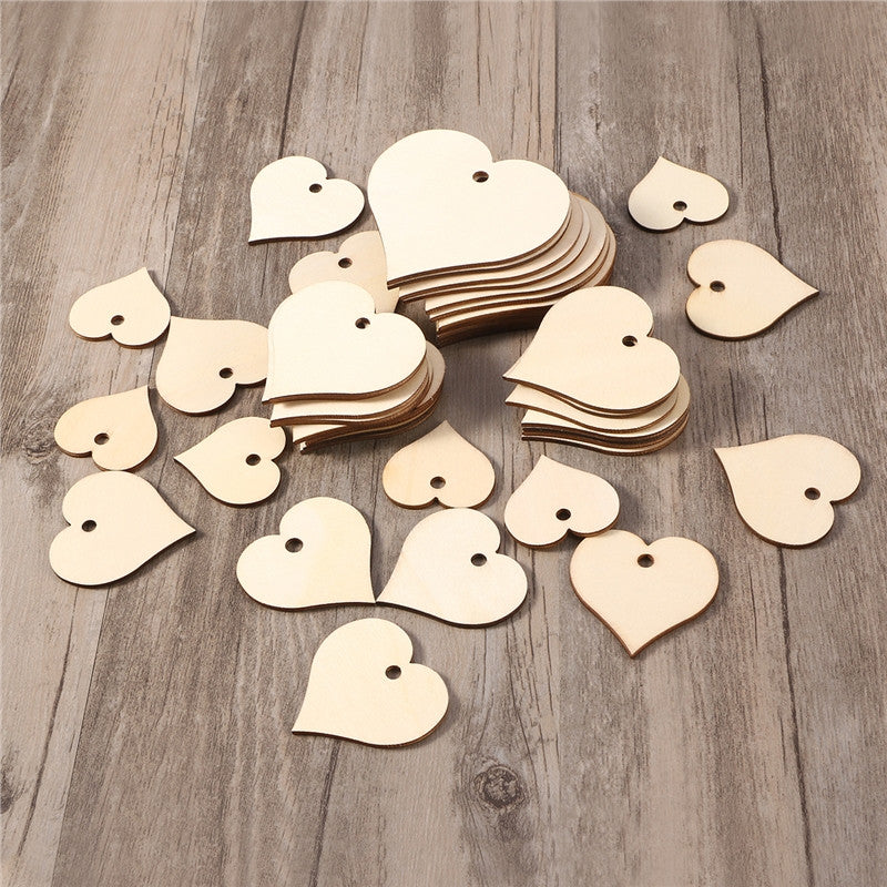 100 Heart Shaped Wood Slices with Natural Twine - The Rustic Chic Boutique