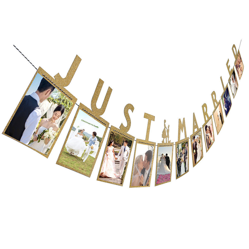 'Just Married' Photo Banner - The Rustic Chic Boutique