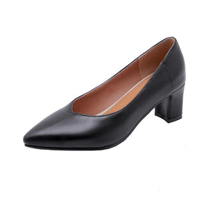 Lady Pointed Toe Shallow Mouth Shoes Chunkey Pumps