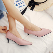 Load image into Gallery viewer, Pointed Toe Woman Pumps Stiletto Mid Heel Shoes