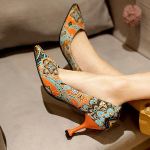 Floral Printed High Heel Shallow Mouth Women Pumps