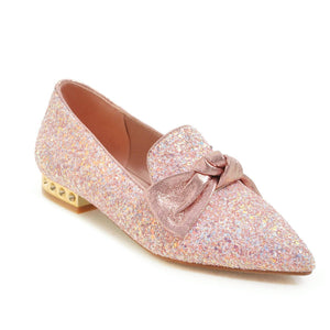 Woman's Sequin Bow Shallow-mouthed Low Heeled Chunky Pumps Shoes