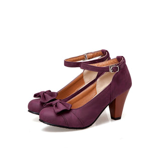 Thick Heeled High Heeled Round Head Buckle Belt Shallow Women Pumps