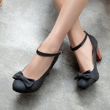 Load image into Gallery viewer, Thick Heeled High Heeled Round Head Buckle Belt Shallow Women Pumps