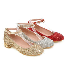 Load image into Gallery viewer, Girls's Buckle Sequin Bride Low Heeled Pumps