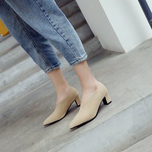 Lady Shallow Mouth Thick Heel Women's Pumps Mid Heels Shoes