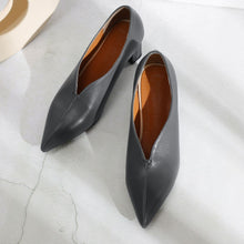 Load image into Gallery viewer, Lady Pointed Toe Medium Heel Shallow Shoes Woman Chunkey Pumps