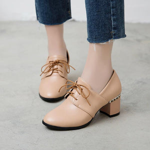 Lace Up High Heeleds Shallow-mouthed Shoes