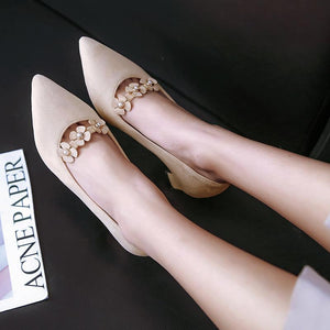 Lady Pointed Toe Sweet Flowers Chunkey Pumps