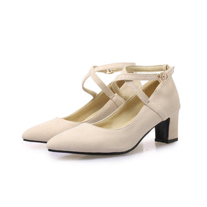 Woman's Pointed Toe Strappy Chunkey Heels Pumps