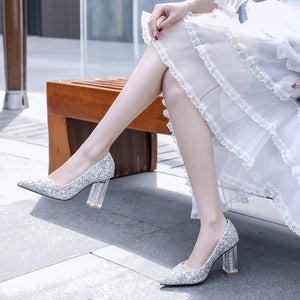 Pointed Toe High-heel Sequins Large Size Bride Shoe