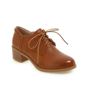 Woman's Lace Up Oxford Shoes Middle Heels Casual Chunkey Heels