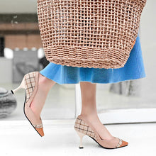 Load image into Gallery viewer, Women's Plaid High Heel Pumps