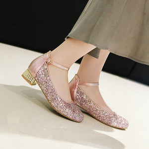 Women's Sweet Sequin Low Heeled Shoes