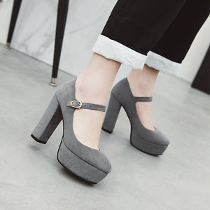 Super High-heeled Coarse-heeled Platform Women Pumps