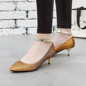 Shallow Mouth Pointed Toe Ankle Strap Woman Stiletto Heel Pumps