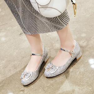 Woman's Sweet Butterfly Sequins Round Head Low Heels Shoes