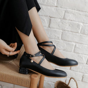 Women's Cross Straps Low Heeled Shoes