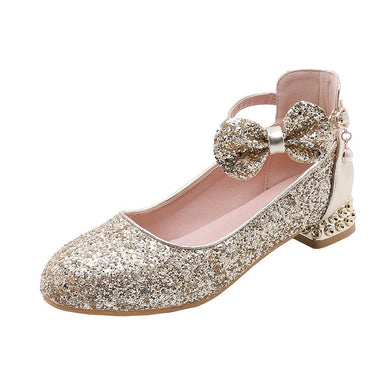 Women's Sweet Bow Sequins Low Heeled Shoes