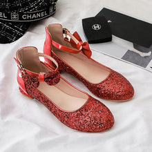 Load image into Gallery viewer, Women's Sweet Bow Sequins Low Heeled Shoes