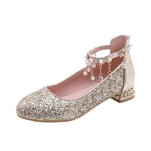 Women's Sequined Pearls Low Heeled Shoes