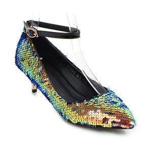 Pointed Toe Sequined Buckle Shoes Woman Pumps Stiletto Mid Heel Shoes