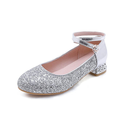 Women's Sequin Round Head Low Heeled Shoes