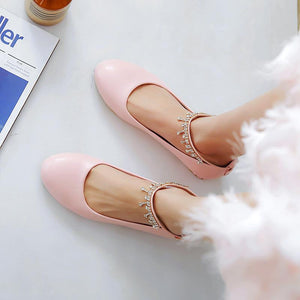Women's Rhinestone Low Heeled Shoes