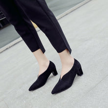 Load image into Gallery viewer, Lady Shallow Mouth Thick Heel Women's Pumps Mid Heels Shoes