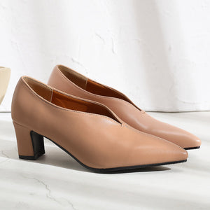 Lady Pointed Toe Medium Heel Shallow Shoes Woman Chunkey Pumps