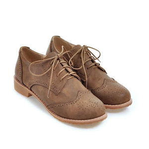 Woman's Square Heel Lace Up Woman's Shoes Low Oxford Shoes
