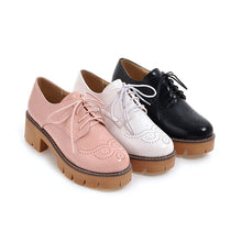 Load image into Gallery viewer, Woman's Square Toe Lace Up Platform Oxford Shoes