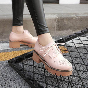 Woman's Square Toe Lace Up Platform Oxford Shoes