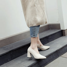 Load image into Gallery viewer, Pointed Toe Chunky Heels Pumps