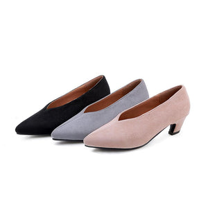 Woman's Shallow Mouth Pointed Low Heels Shoes