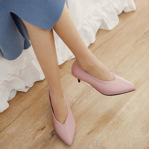 Pointed Toe Woman Pumps Stiletto Mid Heel Shoes