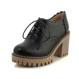 Lace-up High Heels Oxford Shoes